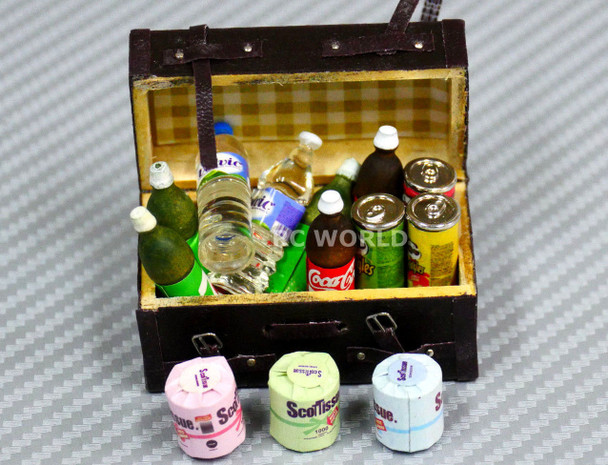RC 1/10 Scale Accessories SODA, WATER, PRINGLES, TOILET PAPER W/ Leather Case