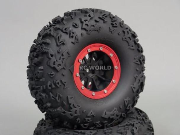 "Axial 2.2 Rock CRAWLER Beadlock Wheels & TIres 140 mm 5.5"" -Set Of 4- RED"