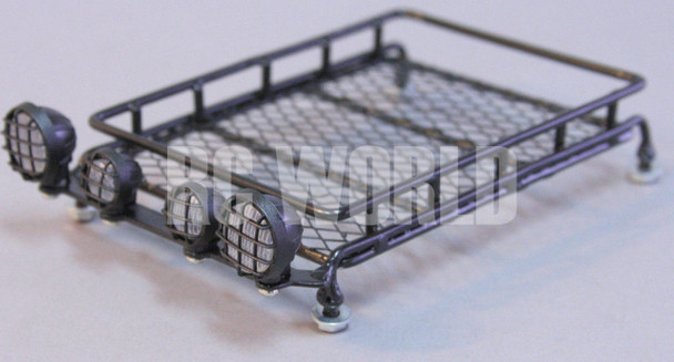 RC Scale Accessories All METAL ROOF RACK WITH L.E.D LED LIGHTS Light Bar