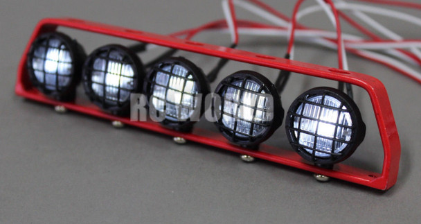 RC Scale Metal Roof Light Bar W/ LED Lights Red