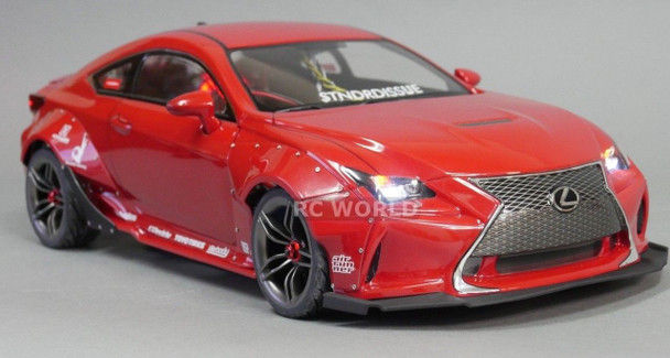 Custom 1/10 RC Car LEXUS RCF Rocket Bunny Wide Body L.E.D Lights - RED RTR