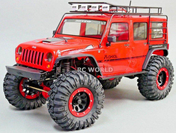 RC Axial JEEP Wrangler METAL CAGE ROOF RACK W/ SPARE W/ IPF LED Pods