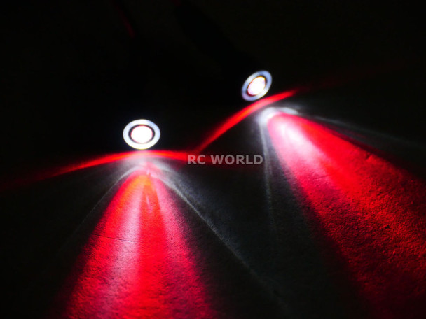 RC LED 10mm HALO LED Headlights - RED Center - WHITE HALO - 2 BULBS-