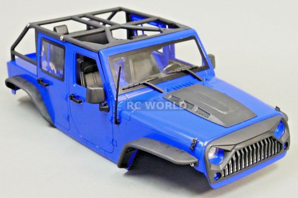 RC Scale Truck Body Shell 1/10 JEEP WRANGLER RUBICON Hard Body V2 w/ ROLL BARS