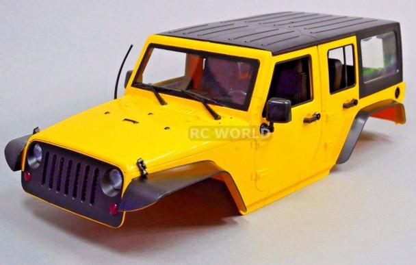 RC Scale Truck Body Shell 1/10 JEEP WRANGLER RUBICON 4 Door Hard Body YELLOW
