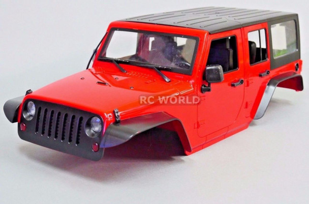 RC Scale Truck Body Shell 1/10 JEEP WRANGLER RUBICON 4 Door Hard Body RED