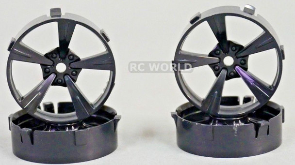 Tetsujin Mandarin RC Car 1/10 Wheels BLACK Adjustable Offset 3-6-9mm -4 RIMS