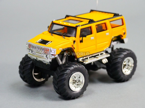 RC 1/43 Radio Control RC Micro Monster Truck HUMMER  w/ LED Lights YELLOW