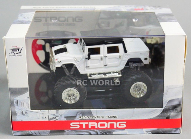 RC 1/43 Radio Control RC Micro Monster Truck HUMMER  w/ LED Lights WHITE