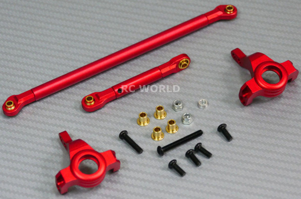 For Axial SCX10 Jeep Honcho UpGrade Front METAL KNUCKLES + STEERING LINK - RED