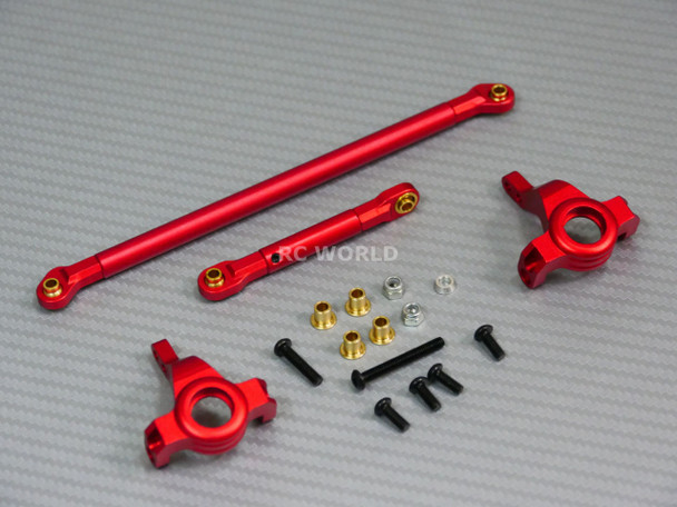 For Axial SCX10 Jeep Honcho UpGraded Front METAL KNUCKLES + STEERING LINK Black