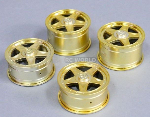 RC Car 1/10 RIMS WHEELS Package Kawada 5 STAR STAGGER - GOLD - SET OF 4