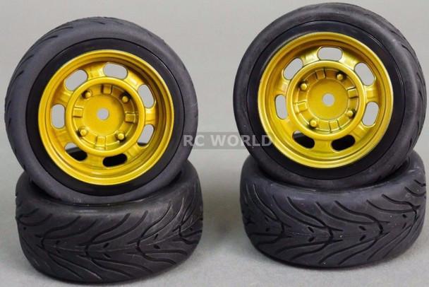 RC Car 1/10 WHEELS Tires SEMI-SLICK 3MM Offset VINTAGE GOLD STEEL -SET OF 4-