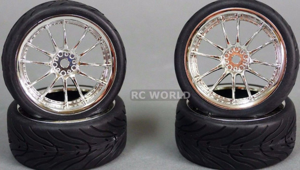 RC Car 1/10 WHEELS Tires SEMI-SLICK 3MM Offset CHROME MULTI SPOKE -SET OF 4-