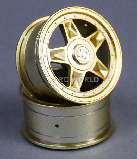 RC Car 1/10 RIMS Wheels KAWADA 5 Star Narrow 26mm GOLD *SET OF 2* TU27G