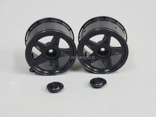 RC Car 1/10 RIMS Wheels KAWADA 5 Star WIDE 53mm BLACK *SET OF 2* TU26BH