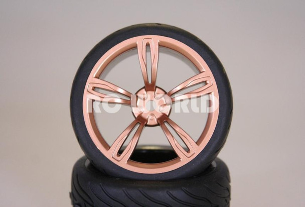 RC 1/10 Street SEMI SLICK WHEELS TIRES Package 3MM Offset GOLD 5 STAR (4pcs)