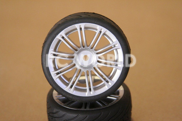 R/C 1/10 Radio Control CAR Wheels SILVER MULTI FAN w/ Semi Slick TIRES 4PC