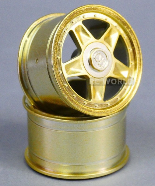 RC Car 1/10 RIMS Wheels KAWADA 5 Star WIDE 31mm GOLD *SET OF 2* TU28G