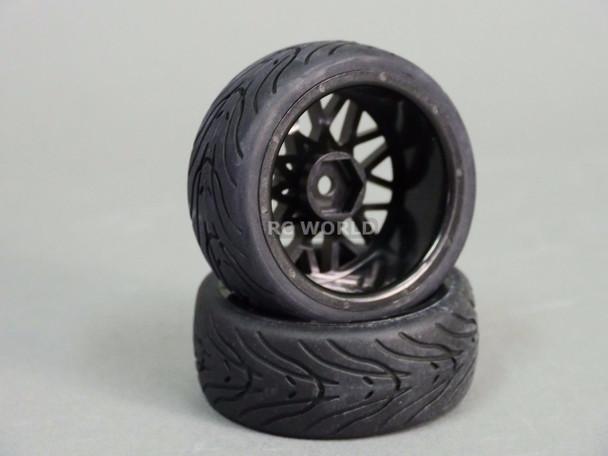 RC Car 1/10 WHEELS Tires SEMI-SLICK 3MM Offset GUN METAL MULTI STAR -SET OF 4-