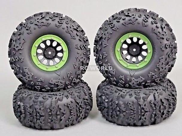 RC Truck Wheels 2.2 W/ 140MM Tires Green.