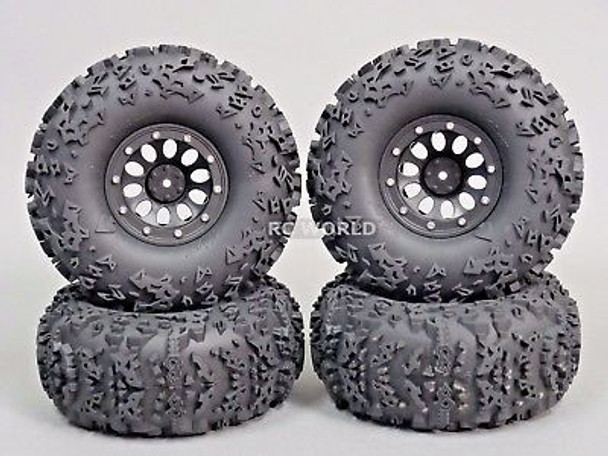 RC Truck Wheels 2.2 W/ 140MM Tires Black.