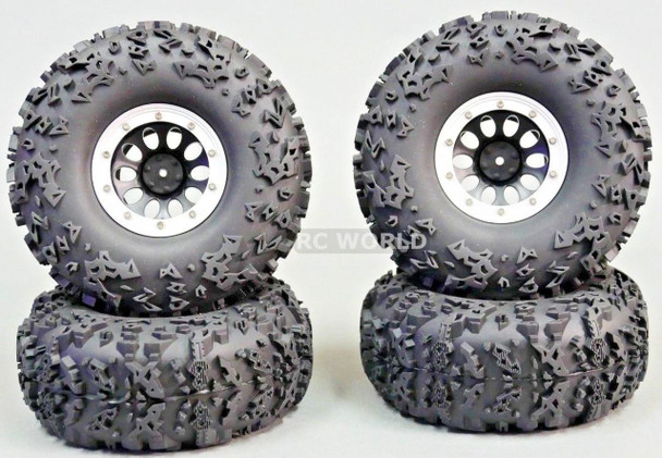 RC Truck Wheels 2.2 W/ 140MM Tires Silver