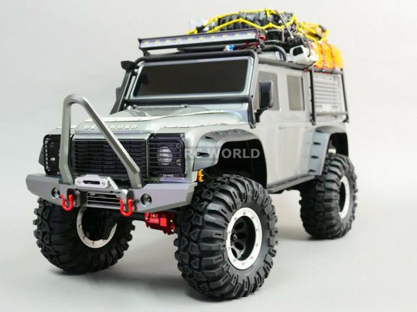 Traxxas TRX-4 DEFENDER FRONT Metal Bumper BULL NOSE Silver + LED