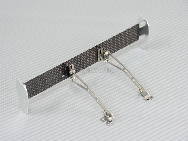 Rear Mounted 1/10 METAL + Carbon Fiber Wing Spoiler Silver