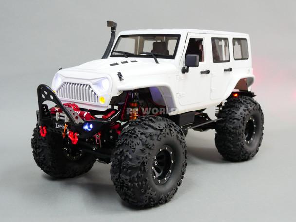 Custom Built 1/10 RC Jeep Wrangler Rubicon V8 Rock Crawler 8.4V *RTR* White