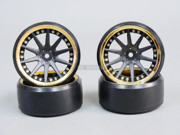 Fly Wheels 1/10 Large 2.2 Drift Wheel Set Stagger 6mm + 9mm Chrome + Black