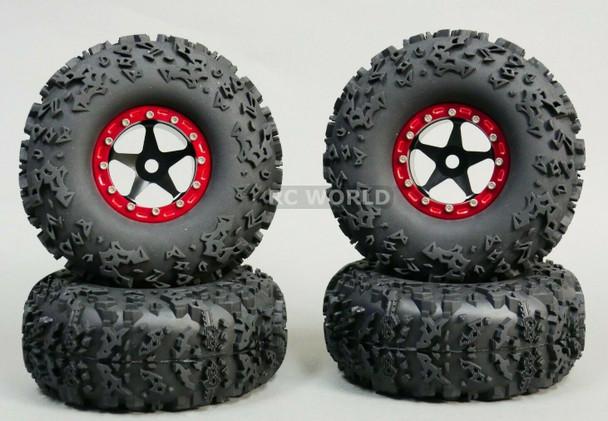 1/10 Truck Wheels 2.2 Aluminum RIMS Beadlock W/ 140mm TIRES Black/Red
