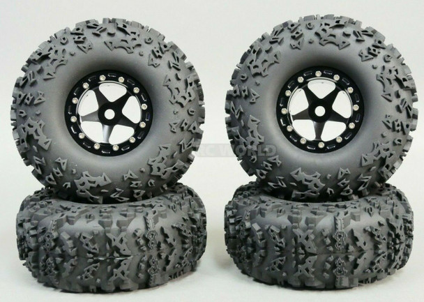 1/10 Truck Wheels 2.2 Aluminum RIMS Beadlock W/ 140mm TIRES Black/Black