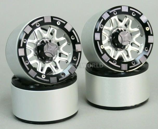 1/10 Truck Wheels 2.2 ALUMINUM RIMS Beadlock 8 Star SILVER w/ BLACK