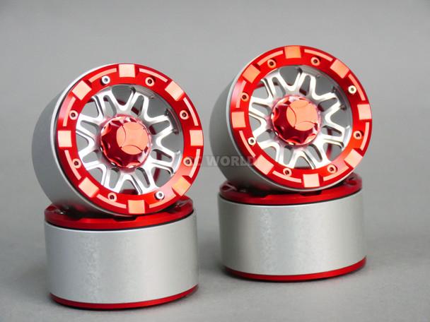 1/10 Truck Wheels 2.2 ALUMINUM RIMS Beadlock 8 Star SILVER w/ Red