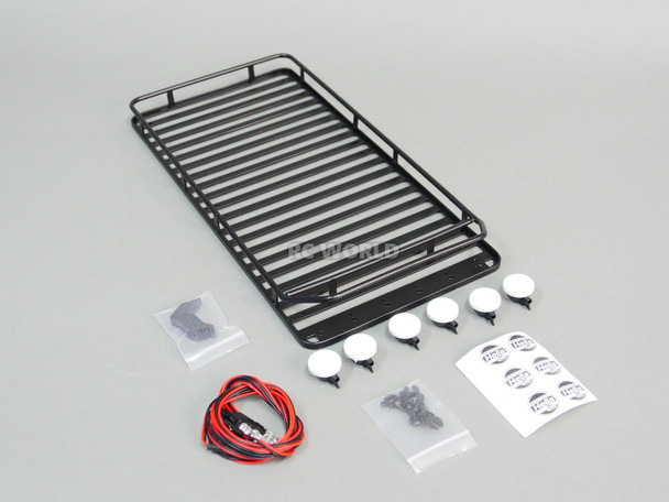 RC Defender 110 Metal Roof Rack W/ 6 Hella LED Spot Lights