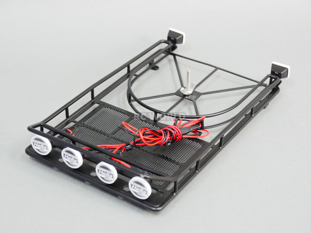 RC Scale Metal Roof Rack W/ Spare 4 Hella + 2 IPF LED Spot Lights
