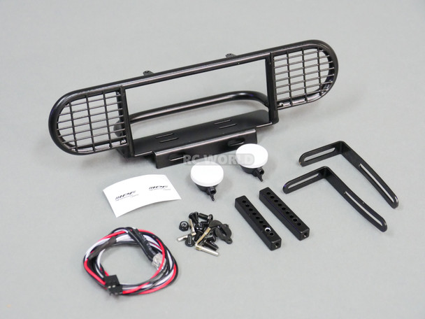 For RC4WD Gelande DEFENDER Front Metal SAFARI Bumper Black + IPF LED