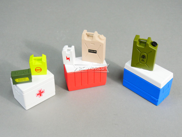 1/10 Scale Accessories Coolers, First Aid, Fuel Tanks, Ammo Box Set