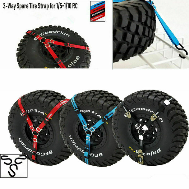 RC 1/10 Scale 3 POINT TIRE Strap Tie Down Harness STRAPS