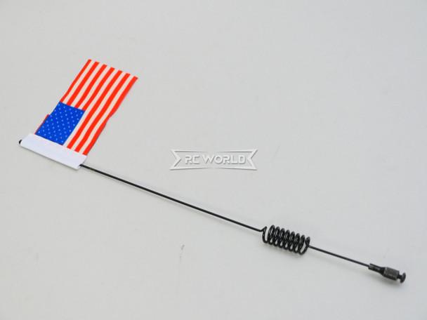 "1/10 METAL ANTENNA 8"" W/ American Flag USA For RC Vehicles"