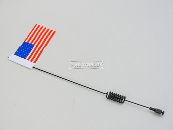"1/10 METAL ANTENNA 10"" W/ American Flag USA For RC Vehicles"