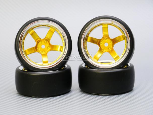 1/10 DRIFT Wheels 9MM Offset GOLD  5 Star W/ Chrome LIP *4pcs*