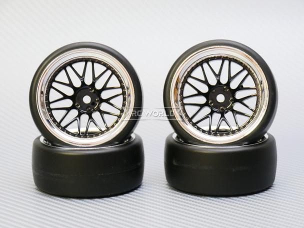 1/10 DRIFT Wheels 9MM Offset BLACK 3 Piece W/ Chrome LIP *4pcs*