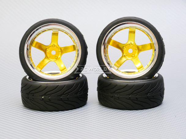 1/10 STREET Wheels 6MM Offset GOLD 5 Star W/ Chrome LIP *4pcs*