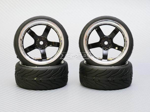 1/10 STREET Wheels 6MM Offset BLACK 5 Star W/ Chrome LIP *4pcs*