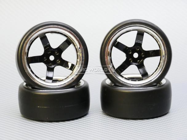 1/10 DRIFT Wheels 9MM Offset BLACK 5 Star W/ Chrome LIP *4pcs*