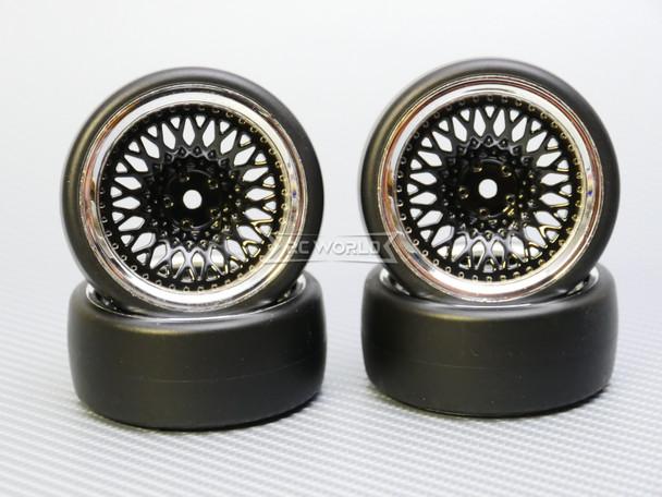 1/10 DRIFT Wheels 9MM Offset BLACK Mesh W/ Chrome LIP *4pcs*