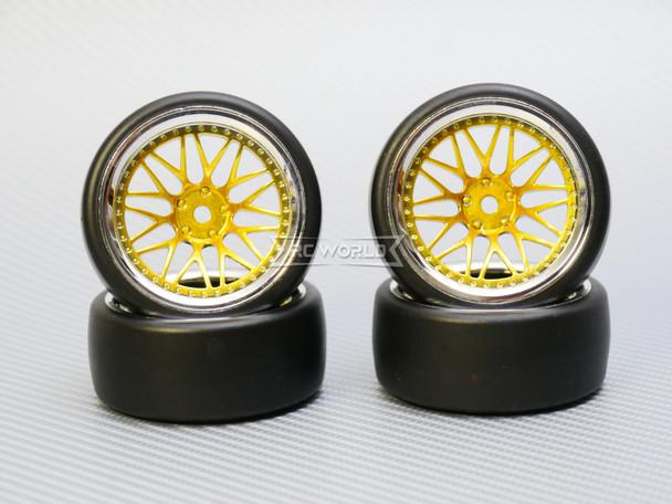 1/10 DRIFT Wheels 9MM Offset GOLD 3 Piece W/ Chrome LIP *4pcs*
