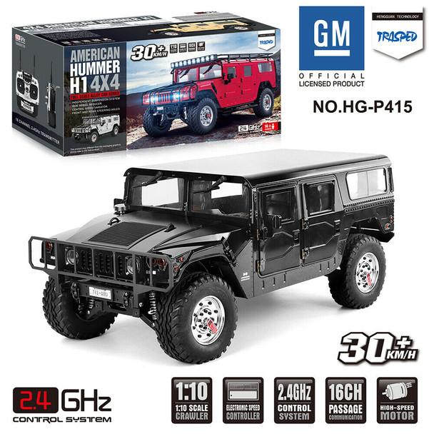 RC 1/10 HUMMER H1 4X4 Truck Full Option 2-Speed + Sounds + LED *RTR* BLACK